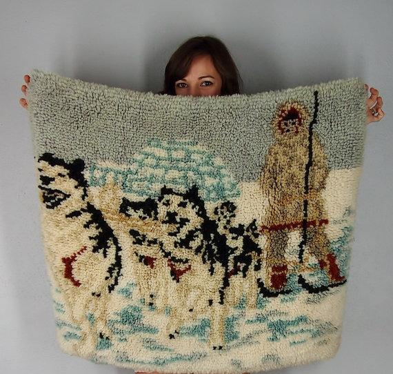 Alaska Rug, Iditarod, Eskimo, Inuit, Husky, Wolf Rug, Bohemian Home Decor