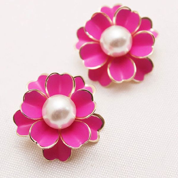 jewels earrings red pearl flowers