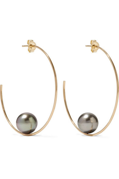 Mizuki pearl earrings hoop earrings gold jewels