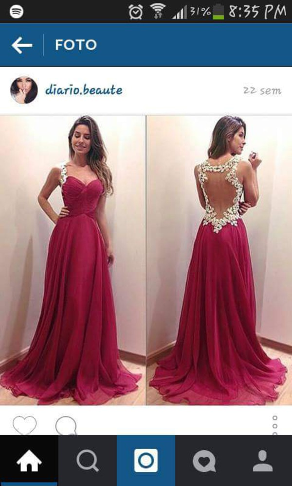 Sweetheart Red Chiffon Long Prom Dress