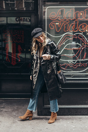 wish wish wish,blogger,coat,hat,top,jeans,shoes,bag,winter outfits,fisherman cap,boots,bucket bag