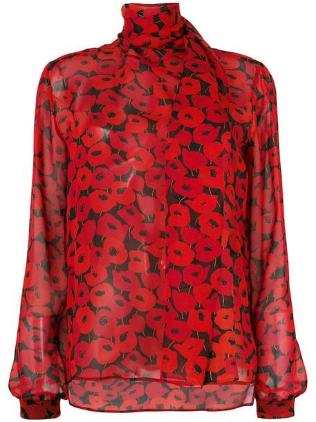 Saint Laurent blouse women print silk red top