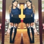 skirt,ariana grande,socks,hair accessory,shoes,sweater