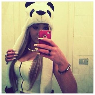 hat panda cap sweet fluffy