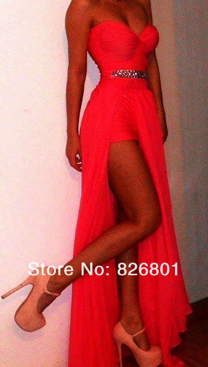 Vestidos Formales Free Shiipng  Coral Long Prom Dress With Slit  Sexy Prom Dress 2014 Vestido De Fiesta Long-in Prom Dresses from Apparel & Accessories on Aliexpress.com