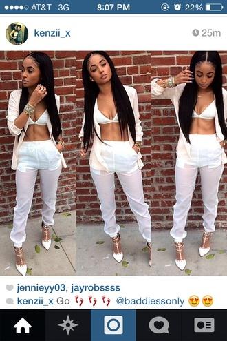2 baggy pants white white crop tops tube top tube t