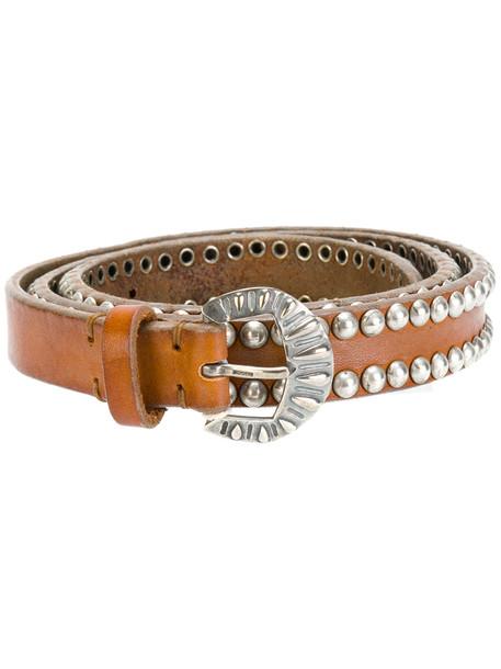 studded belt brown