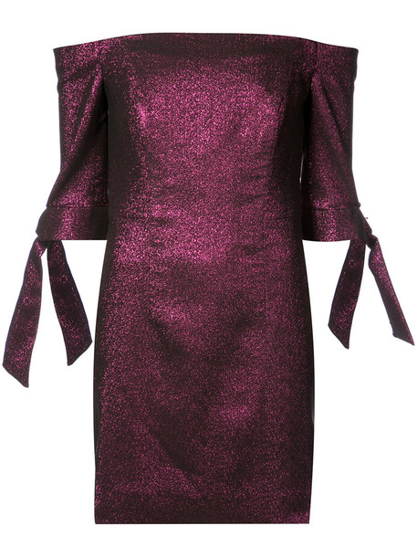 dress metallic women spandex cotton purple pink