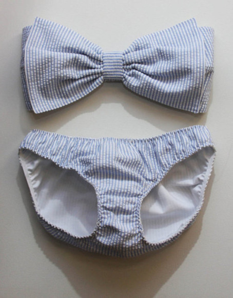 swimwear bikini bow blue and white striped