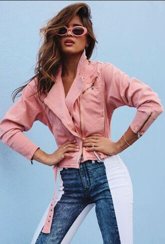 jacket pastel sunglasses rocky barnes jeans denim blogger instagram spring outfits