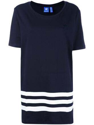t-shirt shirt short women cotton blue top
