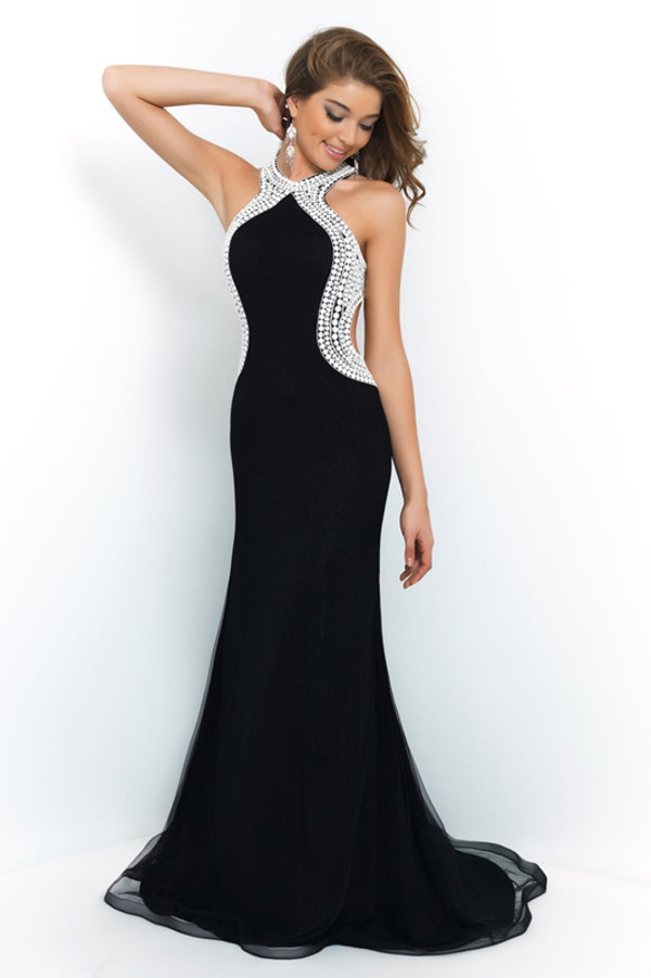 black dress halter neck dress mermaid prom dress prom dress 2014 long prom dresses