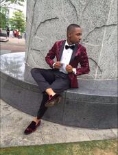 jacket,burgundy,floral,velvet,suit,suit jacket,mens suit,maroon/burgundy,dark red,prom,prom dress,boy,shoes,blazer,burgundy top,design,black,menswear
