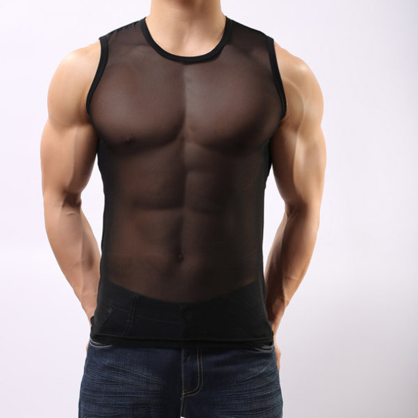 t-shirt sheer underwear mesh top sexy black top menswear sportswear