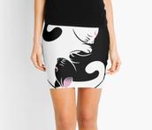 skirt,cats,mini skirt,yin yang