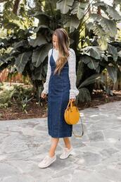 merrick's art // style + sewing for the everyday girl,blogger,shoes,dress,round bag,yellow bag,denim dress,dungarees