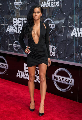 dress black dress plunge v neck bet awards cassie mini dress black mini dress