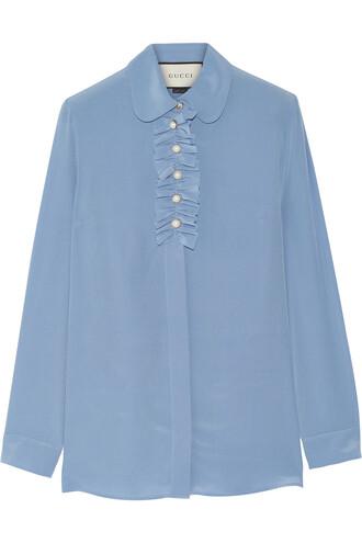 blouse ruffle pearl embellished silk blue sky blue top