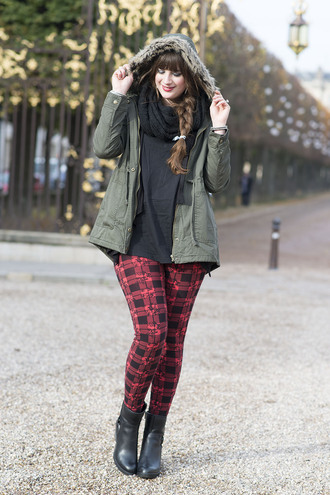 andy sparkles blogger red skinny pants parka coat cardigan shirt leggings shoes