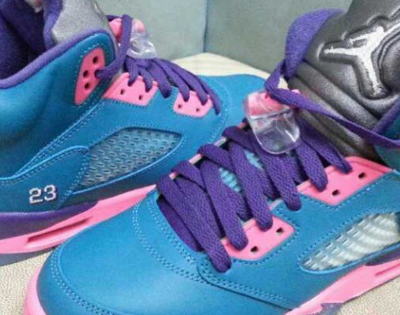 Air Jordan V GS: Blue - Pink - Purple
