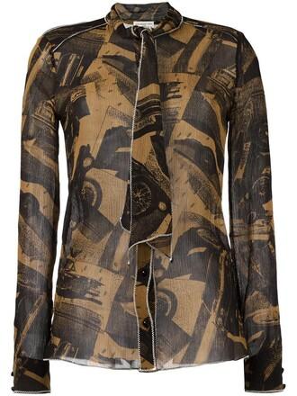 shirt printed shirt women brown top