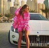 sweater,moschino,pink,pink sweater,dress