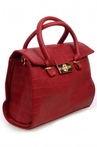Buy Red Mock Croc Tote Bag  from Select Fashion online store