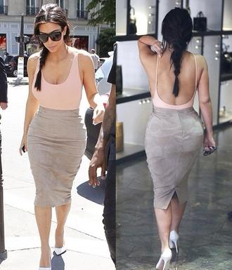 skirt kim kardashian high waisted skirt peach lingerie