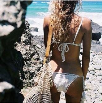 swimwear white knitted bikini swimming swimmwear bikini knit knitted swimsuit