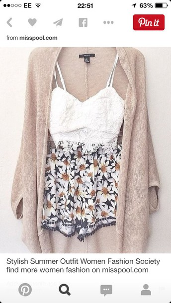 shorts daisy black white spring outfits cardigan coat sweater top