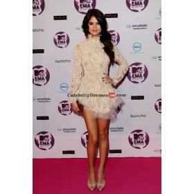 Selena Gomez White Long Sleeve Cocktail Celebrity Dresses 2011 MTV European Music Awards
