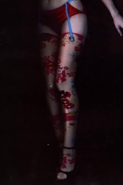socks leggings stockings red lace lingerie