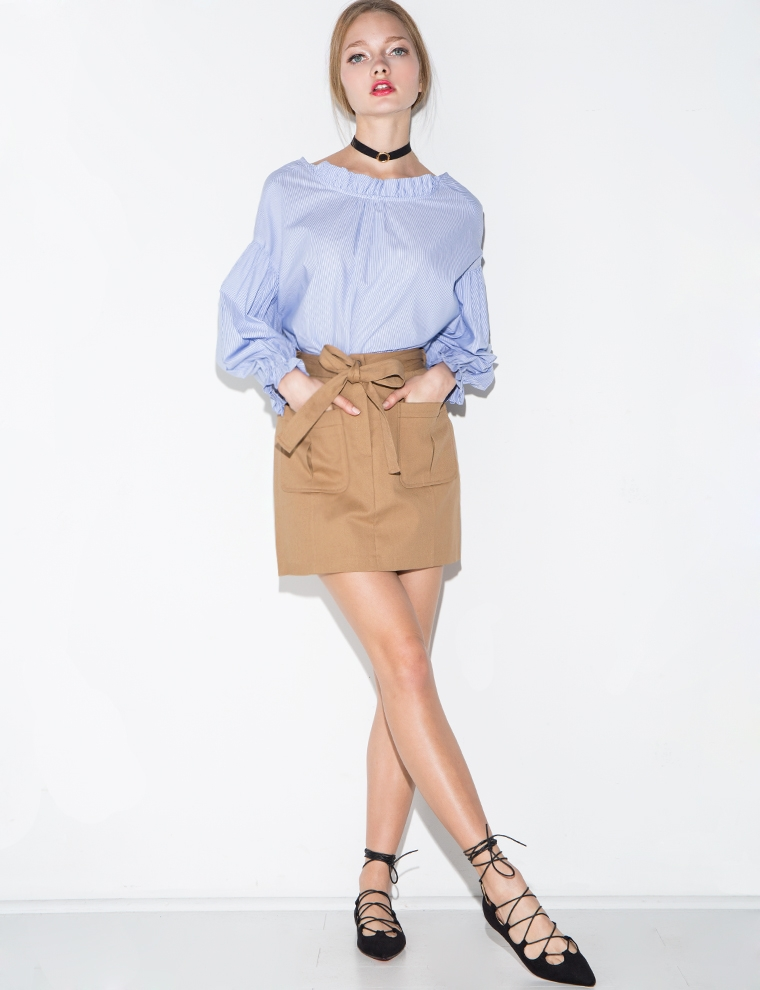 Belted Pocket Mini Skirt - Cargo Mini Skirt -