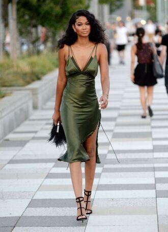 dress slip dress green dress midi dress sandals black sandals summer dress summer outfits chanel iman model