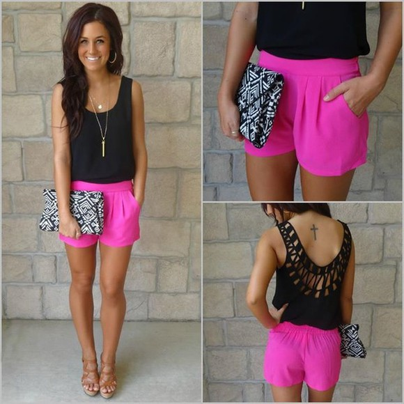bag low cut back blouse back black pink hot pink shorts black shirt purse summer outfits fashion hot summer2014 tan warm weather tattoo pink and black brown hari