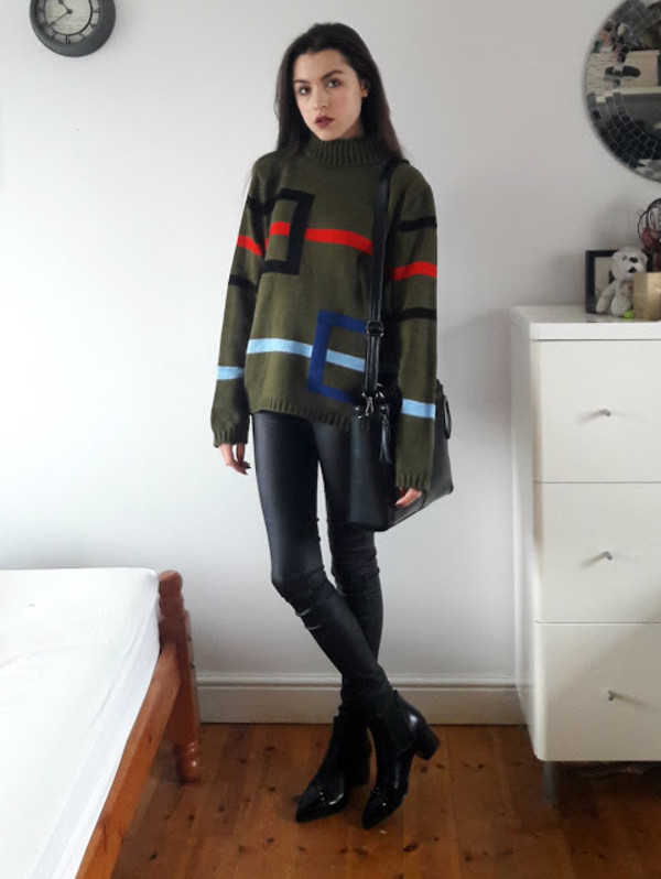teandtwosugars blogger sweater pants shoes bag underwear top jacket green sweater shoulder bag ankle boots fall outfits
