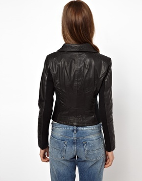 Y.A.S | Y.A.S Daze Leather Jacket with Funnel Neck at ASOS