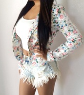 jacket,floral tank top,flowered shorts,fashion,style,clothes,topdress,shorts,hot pants,jeans,denim shorts,coat,streetstyle,streetwear,girly,blouse,crop tops,white,white t-shirt,shirt