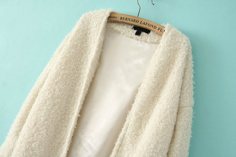 White Long Sleeve Loose Faux Fur Coat - Sheinside.com