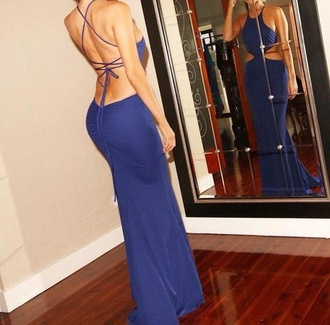 dress open back open sides lase dress blue dress
