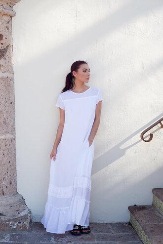 dress tumblr maxi dress white long dress long dress white dress short sleeve dress shoes slide shoes