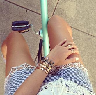 shorts short summer jewels blue white stripes lace tan cream legs summrt bike