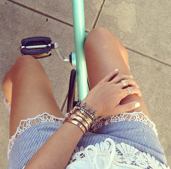shorts short summer summrt bike jewels blue white stripe lace tan cream legs