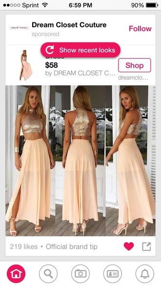 gold sequins shiny two piece dress set cuff bracelet prom high waisted skirt slit maxi skirt nude sandals crop tops chiffon skirt blush pink