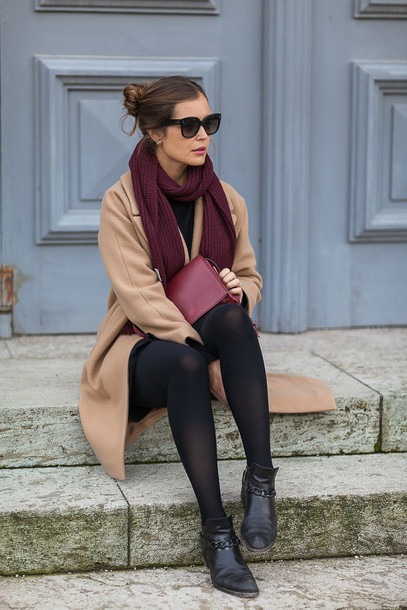 c765f94f54c24 coat tumblr camel camel coat opaque tights bag red bag scarf boots black  boots ankle boots