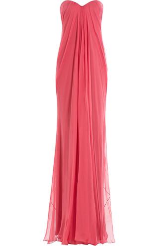 gown chiffon silk rose dress