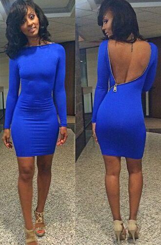 dress beauty young thug royal blue dress zipper