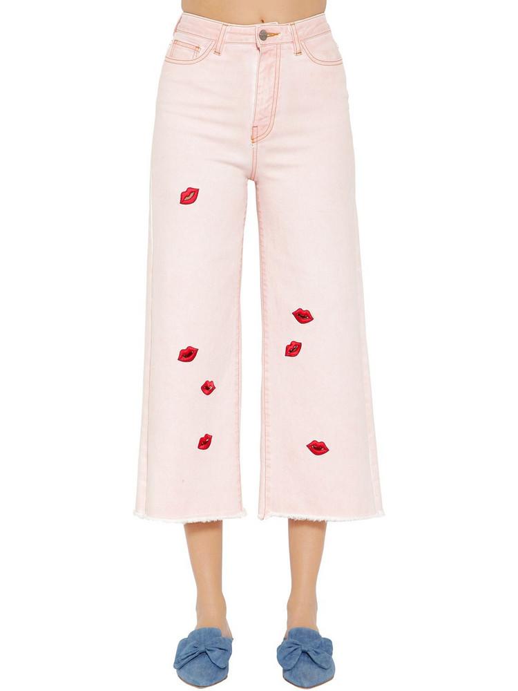 VIVETTA Lips Cropped Wide Leg Denim Jeans in pink