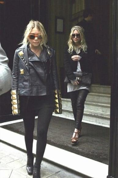 jacket ashley olsen leather jacket punk