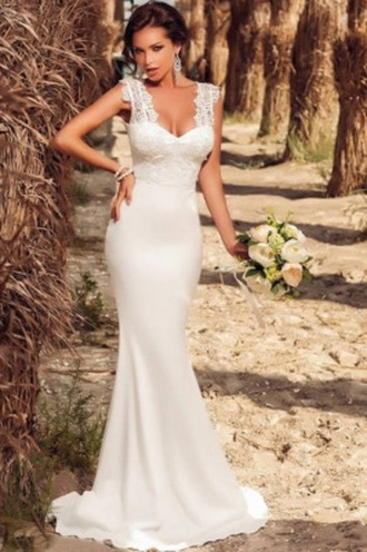 dress classy wedding evening dress wots-hot-right-now white dress white prom dress prom gown embroidered dress plunge neckline formal dress bridesmaid homecoming dress wow oh wow